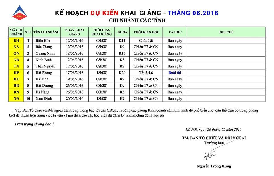 Lịch khai giảng khóa học kế toán tại các tỉnh tháng 6